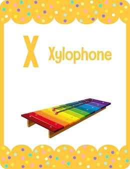 Karta obrazkowa z alfabetem i literą x dla ksylofonu