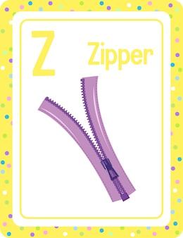 Karta obrazkowa z alfabetem i literą z na zipper