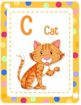 Karta obrazkowa z alfabetem z literą c dla cat