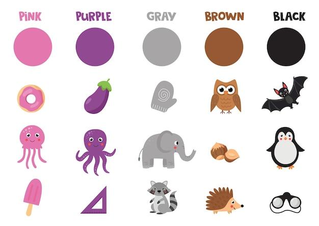 Karta obrazkowa z podstawowymi obiektami. zestaw kolorowych obiektów i zwierząt.