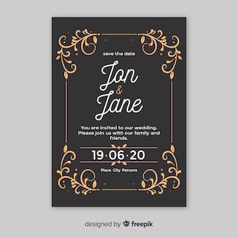 Karta ozdobnych retro ślub