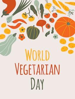 Karta pionowa światowego dnia wegetariańskiego na jasnym tle z kompozycją jesiennych warzyw