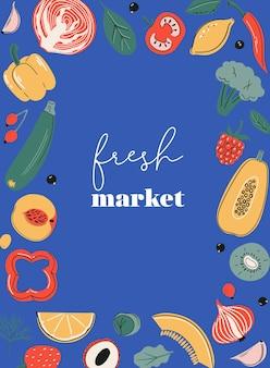 Karta plakatowa ze świeżym rynkiem lub nadruk z owocami i warzywami źródła witaminy c rynek rolny