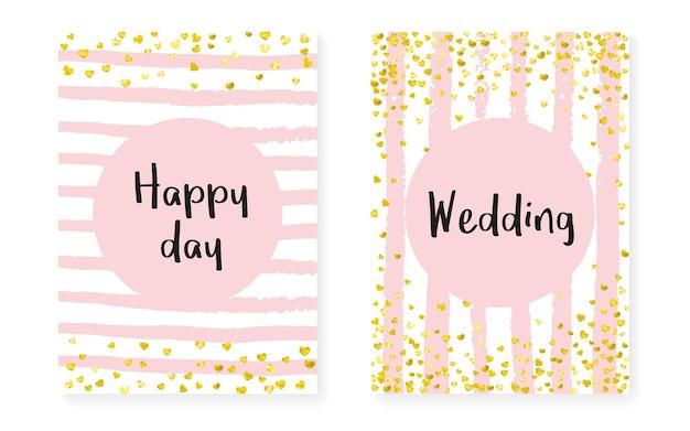 Karta pod prysznic dla nowożeńców z kropkami i cekinami. zaproszenie na ślub z konfetti złoty brokat. pionowe paski tła. moda ślubna karta prysznicowa na imprezę, wydarzenie, zapisz ulotkę z datą.