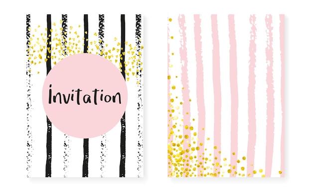 Karta pod prysznic dla nowożeńców z kropkami i cekinami. zaproszenie na ślub z konfetti złoty brokat. pionowe paski tła. retro karta prysznicowa dla nowożeńców na imprezę, wydarzenie, zapisz ulotkę z datą.