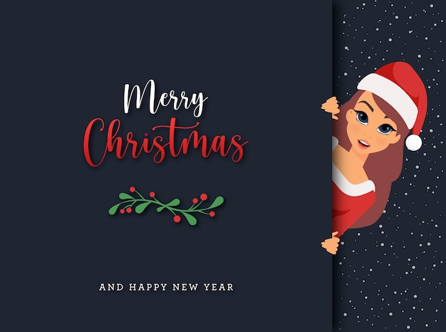 Karta podarunkowa merry christmas z kobietą w stroju świętego mikołaja