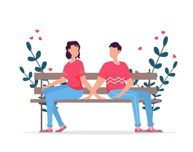 Karta podarunkowa na romantyczne randki na walentynki. związek kochanków dwoje ludzi. para siedzi na ławce. kochająca para na ławce. wesoła młoda para siedzi blisko siebie i uśmiechnięty.