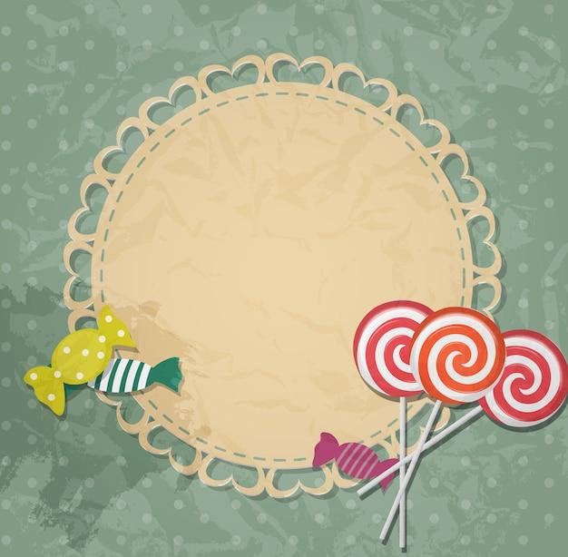Karta podarunkowa z elementami projektu cukierków. ilustracja wektorowa