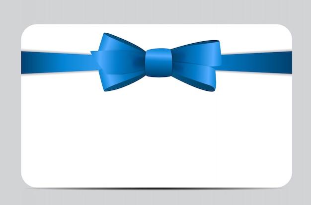 Karta podarunkowa z niebieską wstążką i kokardą