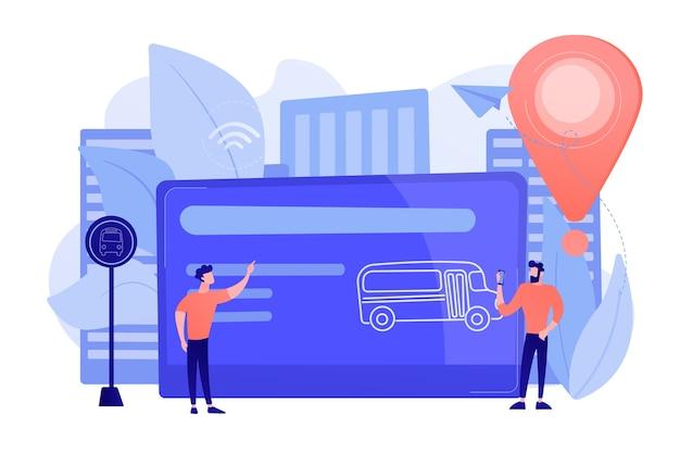 Karta podróżna autobusem i użytkownicy. bilet na transport publiczny, nieograniczone lub zakupione z góry przejazdy, karta pasażera i transport, koncepcja płatności bezprzewodowych za transpot. ilustracja wektorowa na białym tle.