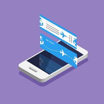 Karta pokładowa linii lotniczych i smartfon w izometrycznym modnym stylu. zarezerwuj miejsce w samolocie online przez aplikację. bilety z przodu iz tyłu. ilustracja.