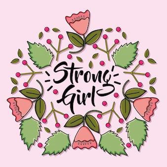 Karta power girl z dekoracją kwiatową