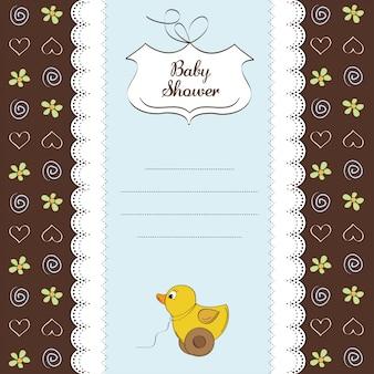 Karta powitalna z zabawką kaczki