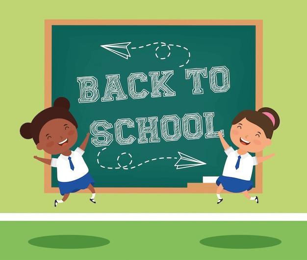 Karta powrotu do szkoły z kilkoma uczniami międzyrasowymi