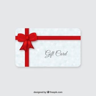 Karta prezent z czerwoną wstążką