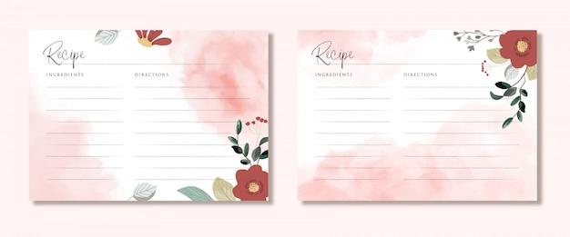Karta przepisu z kwiatowym i różowym pociągnięciem pędzla