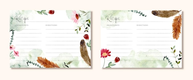 Karta przepisu z rustykalną akwarelą w kwiaty i pióra