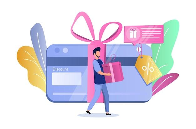 Karta rabatowa człowiek z pudełkiem prezentowym ilustracja wektorowa bonus karta podarunkowa kupon kupon zarobić nagrodę lojalny...