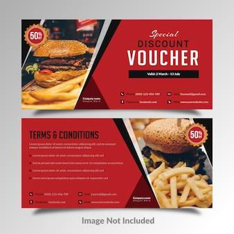 Karta rabatowa kuponu upominkowego fast food