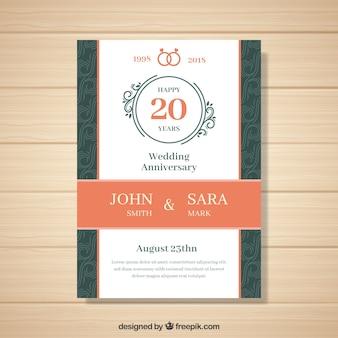 Karta rocznica ślubu w stylu płaski