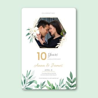 Karta rocznica ślubu ze zdjęciem