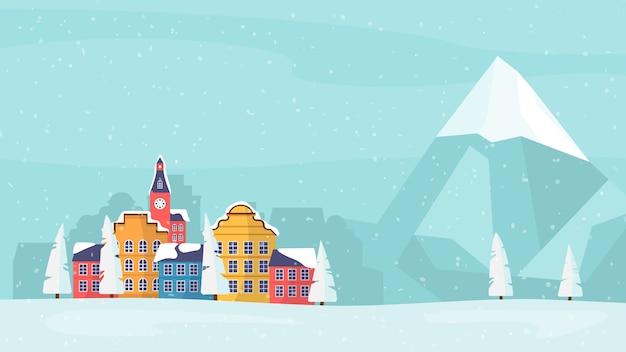 Karta rodzinna wakacje zimowe, baner, plakat.