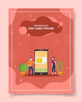 Karta sim telefon mężczyźni kobiety wokół karty sim smartfona do szablonu ulotki