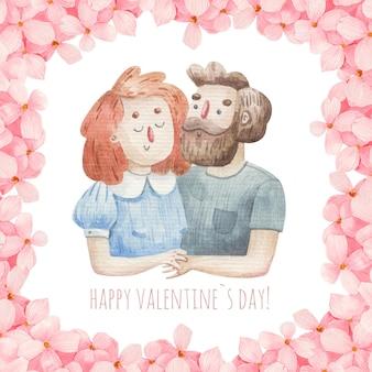 Karta śliczna kochająca para w różowe kwiaty