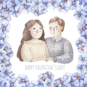 Karta śliczna para zakochanych, ilustracja walentynki dla dzieci