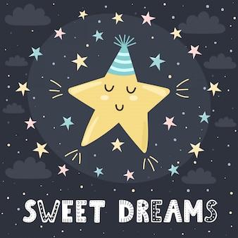 Karta słodkich snów z uroczą śpiącą gwiazdą i napisem. ilustracja