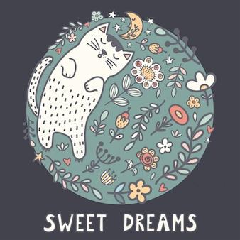 Karta słodkich snów z uroczym śpiącym kotem w roślinach