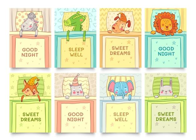 Karta słodkich snów z zestawem śpiących zwierząt. zwierzę śpi słodko, śni króliczek, śpi krokodyl. ilustracja wektorowa