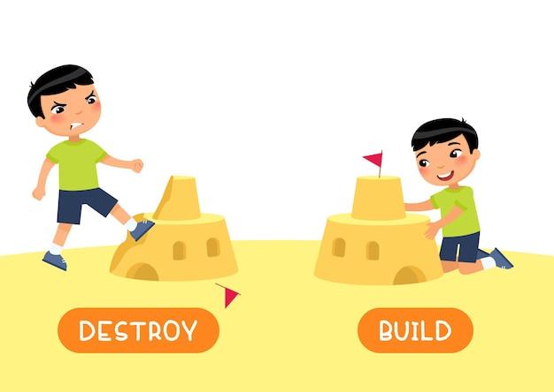 Karta słowna z przeciwieństwami niszczenie i zbuduj język angielski