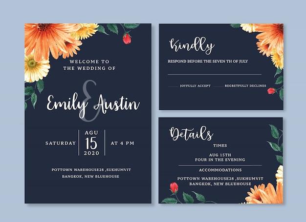 Karta ślub kwiat akwarela, dziękuję karta, ilustracja małżeństwo zaproszenie