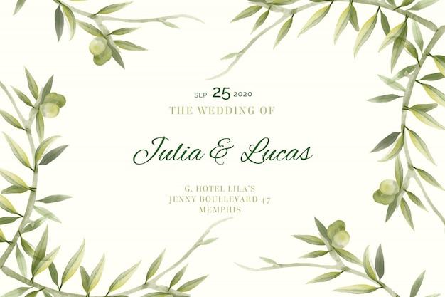 Karta ślub z gałęzi drzew oliwnych