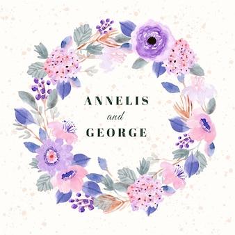 Karta ślub z miękkim fioletowym różowym wieniec kwiatowy akwarela