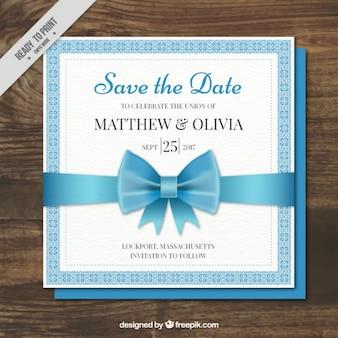 Karta ślub z niebieską kokardą