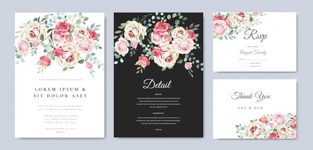 Karta ślub z ornamentem kwiatów i liści