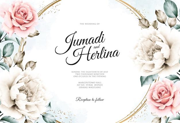 Karta ślub z piękną akwarelą kwiatowy