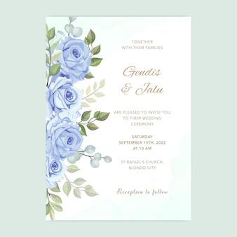 Karta ślub z pięknym kwiatowy szablon akwarela