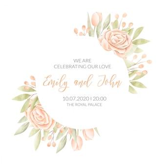 Karta ślub z ramą kwiatowy