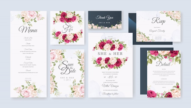 Karta ślub zestaw szablon z pięknym kwiatowy i liści