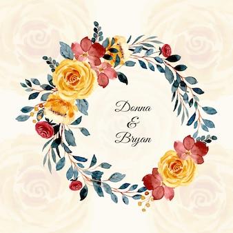 Karta ślubna akwarela wieniec kwiatowy