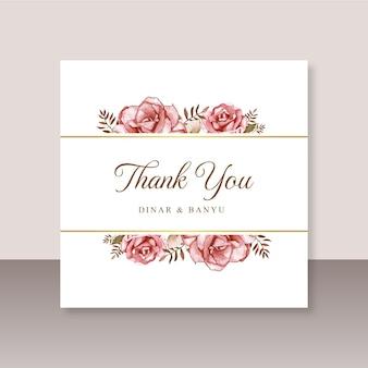 Karta ślubna dziękuję z czerwoną różą akwarelą