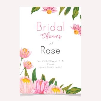 Karta ślubna prysznic z ilustracją kwiatową