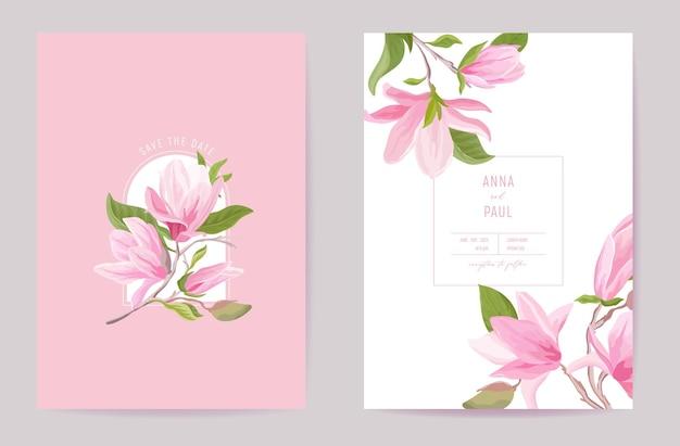 Karta ślubna tropikalny wektor kwiatowy. kwiaty magnolii, liście wiosna zaproszenie. rama szablon akwarela. botaniczna okładka z liśćmi save the date, nowoczesny plakat, modny design, luksusowe tło