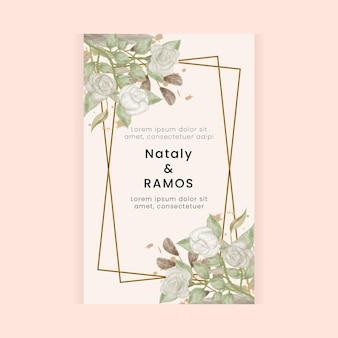 Karta ślubna w stylu retro kwiatowym w stylu akwareli
