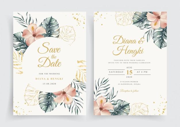 Karta ślubna z eleganckim tropikalnym kwiatem