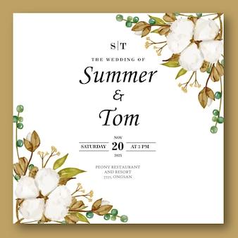 Karta ślubna z kwiatem bawełny akwarela