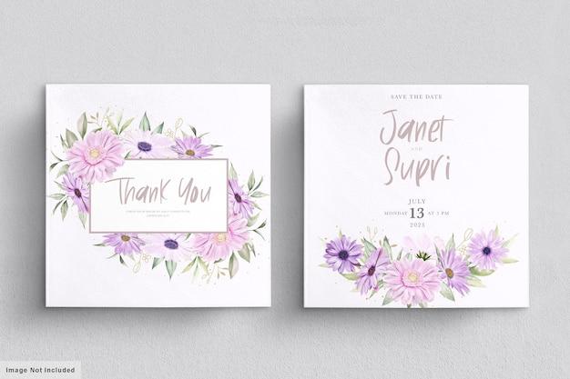 Karta ślubna z miękkim kwiatem chryzantemy